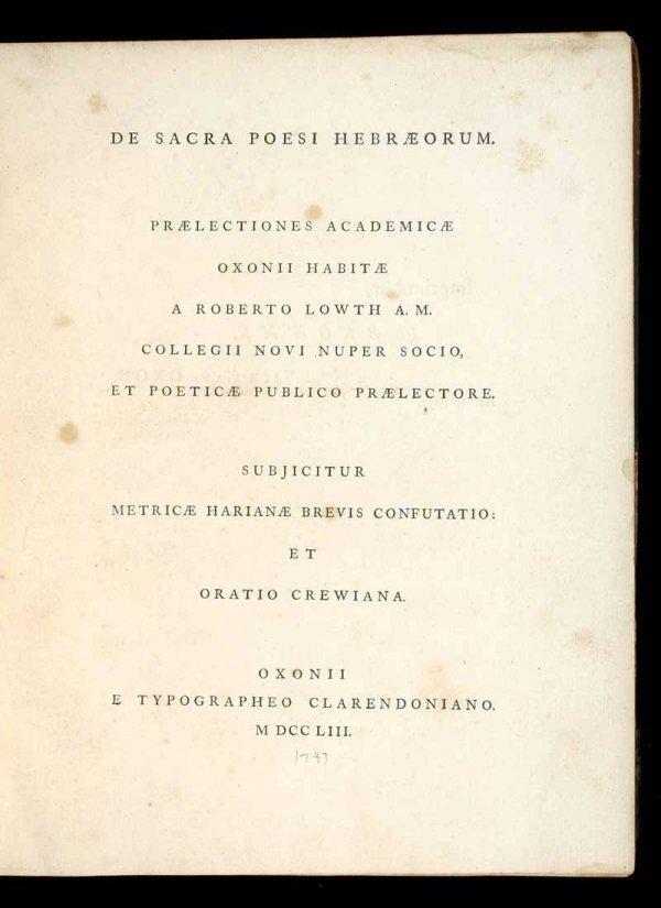 1023: Clarendon Press printing of Hebrew poetry 1753