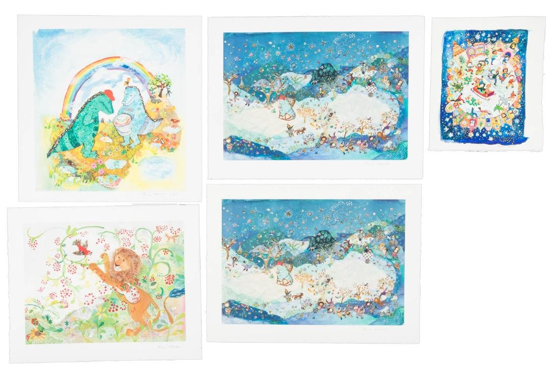 Orignal watercolor and four giclee prints by Elisa