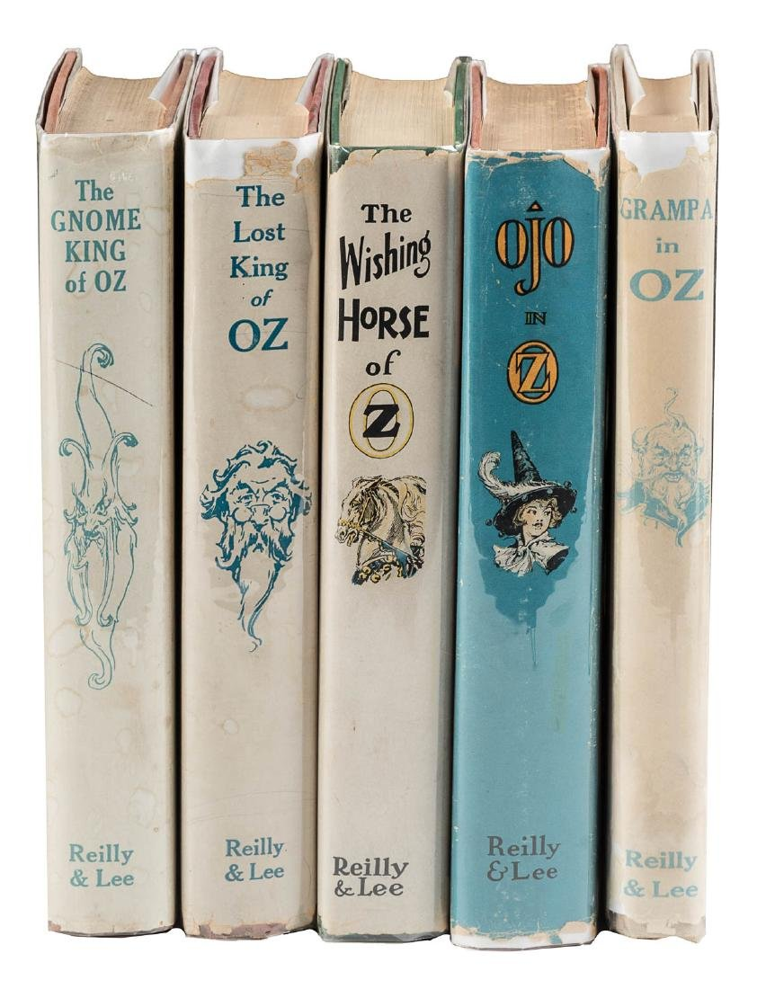 Five later printings of Oz stories, in dust jackets