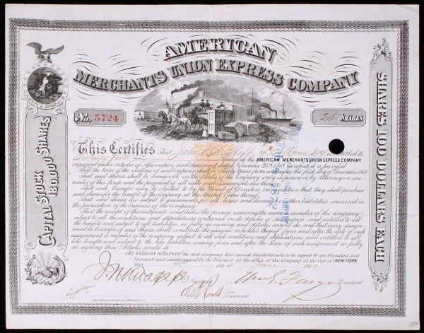 2011: American Merchants Union Express Company Stock