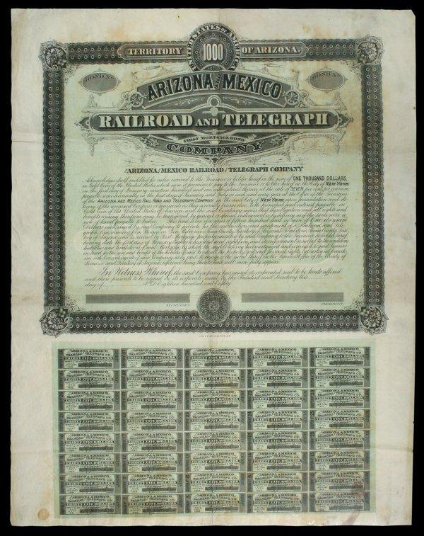 2015: Arizona and Mexico Railroad and Telegraph Bond
