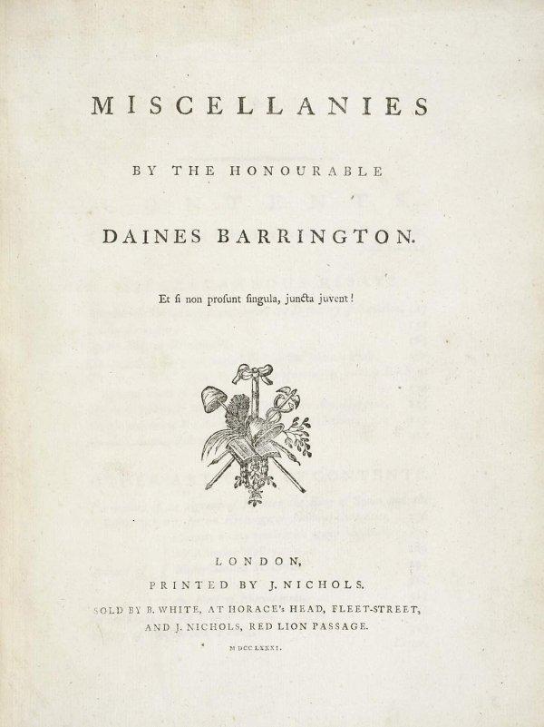 2020: Daines Barrington Miscellanies 1781