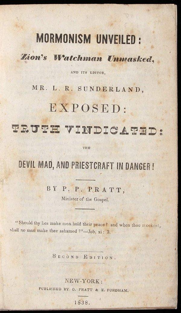 2208: Parley Pratt Mormonism Unveiled 1838 2nd Edition