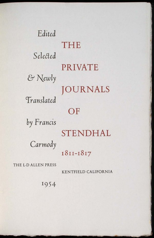 The Private Journals of Stendhal 1811-1817