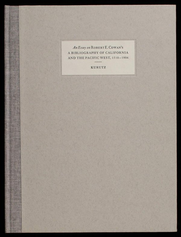 Cowan California Bibiliography Leaf Book