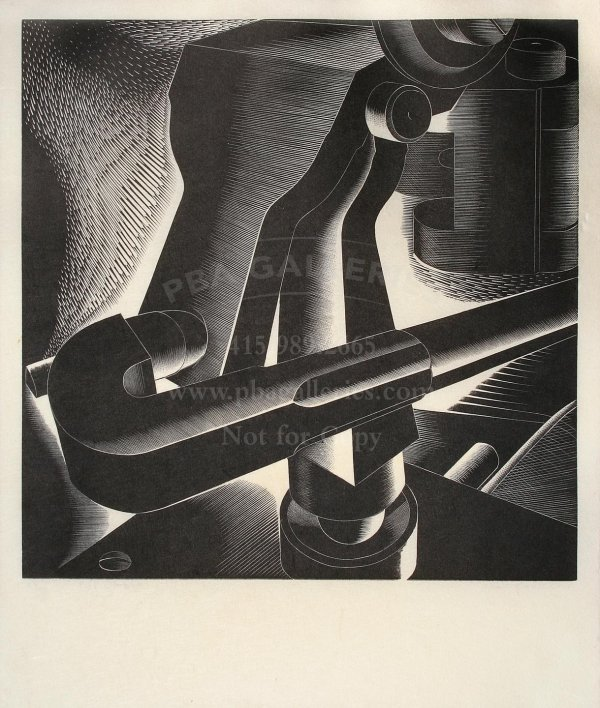 Paul Landacre engraving of Printing Press