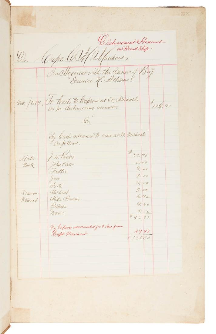 Account ledger for two whaling voyages, 1884-5 - 2
