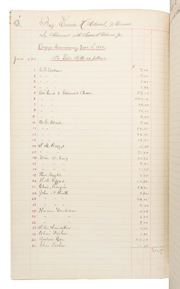 Account ledger for two whaling voyages, 1884-5 - 3