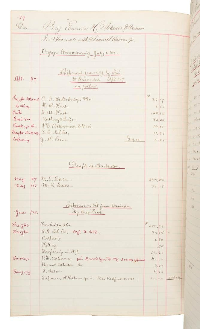 Account ledger for two whaling voyages, 1884-5 - 7