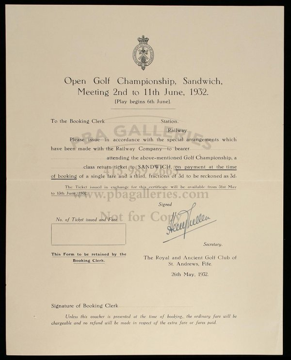 1019: railway certificate golf British Open ephemera