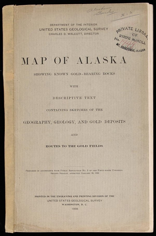 2005: Map Of Alaska with guide to gold fields, 1898