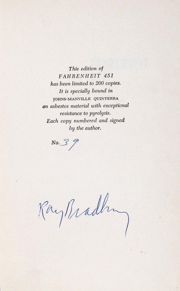 2: Ray Bradbury Fahrenheit 451 sgd asbestos 1st ed.