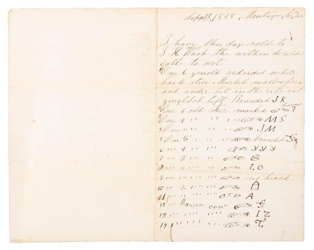 Letter describing sales of cattle, 1868