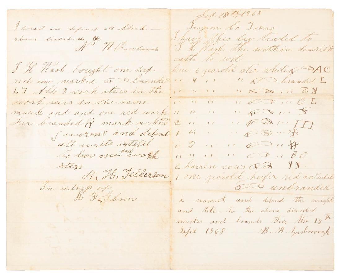 Letter describing sales of cattle, 1868 - 2
