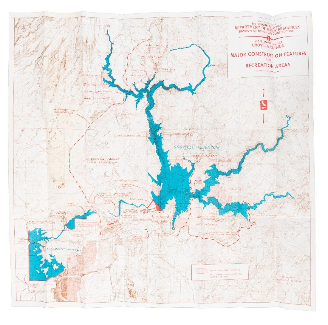Map Of California Oroville Dam.Scarce Map Of Oroville Dam Project