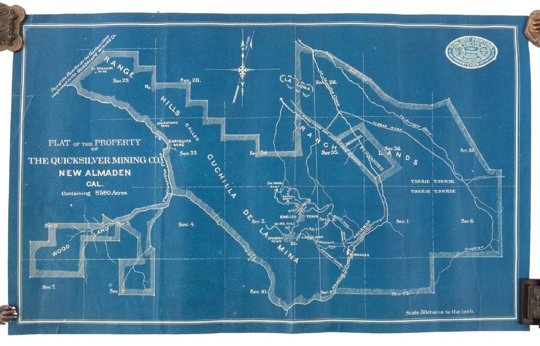 Rare map of New Almedan Quicksilver Mine c.1880