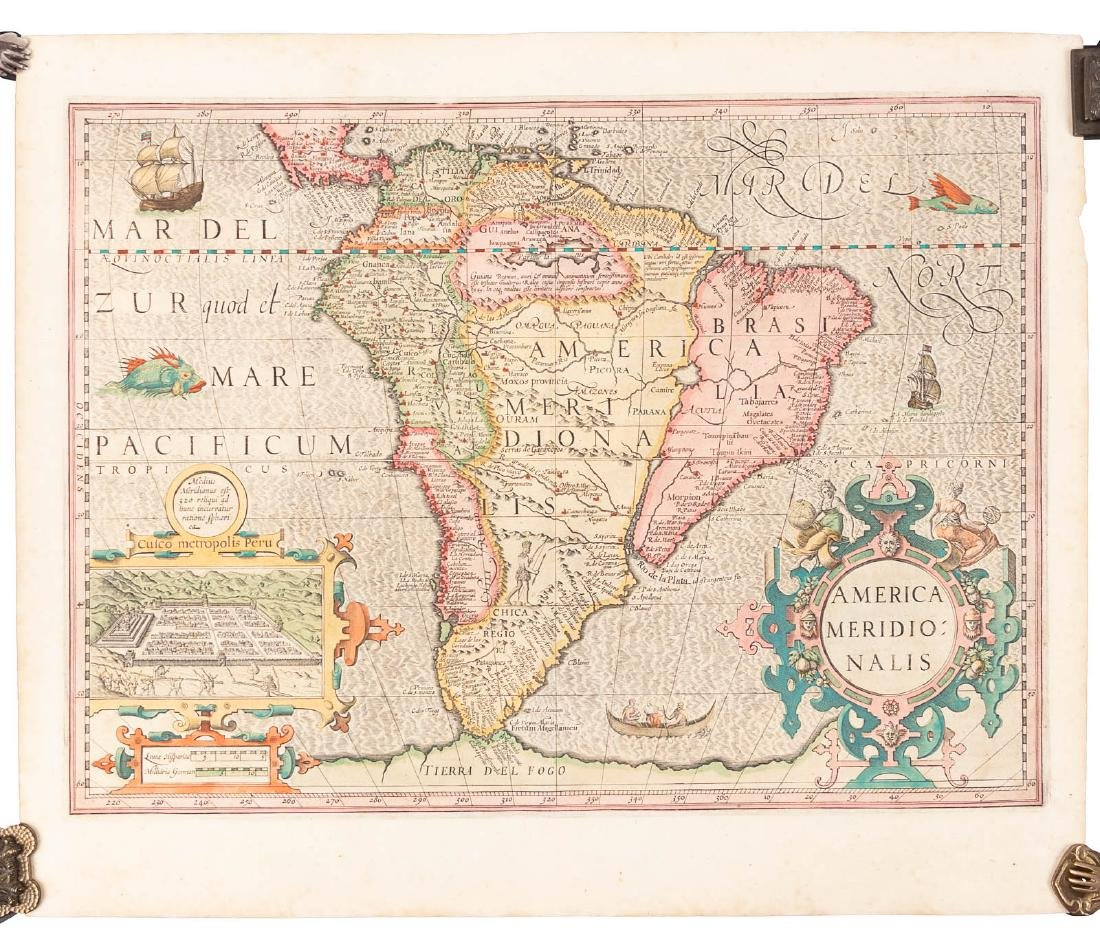 17th century Hondius map of South America