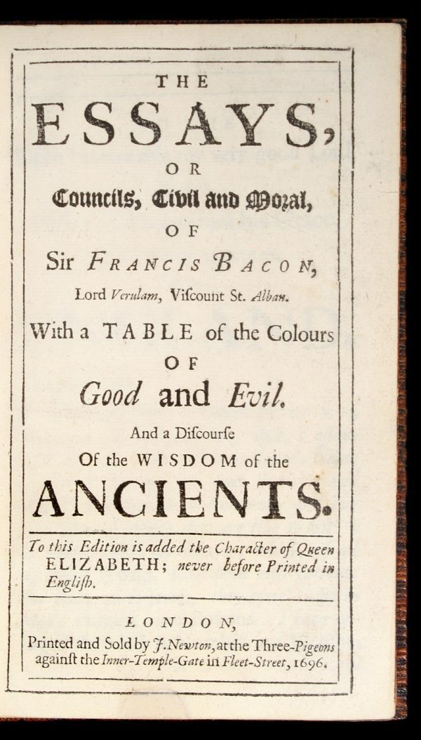 1009: Essays of Sir Francis Bacon 1696