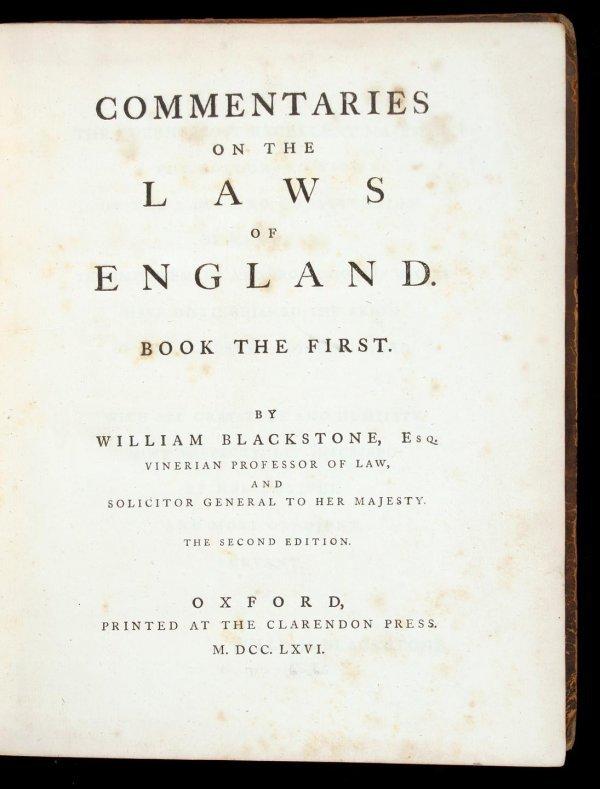 1018: Blackstone's Commentaries 1766-1769