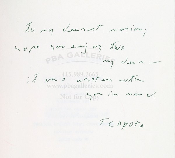 2017: Truman Capote In Cold Blood inscribed & signed