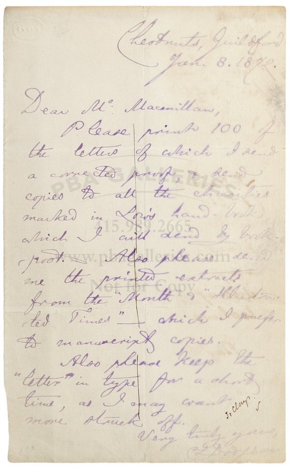 2018: Lewis Carroll ALS to Macmillan publisher 1872