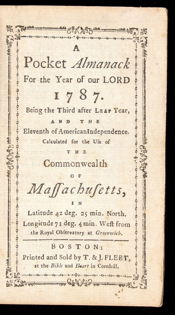 11: Massachusetts Pocket Almanack for 1787