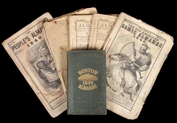 1002: Lot of Six 19th Century Boston Almanacs