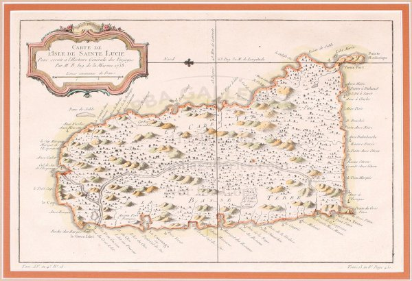 2006: Bellin map of St. Lucia in the Caribbean 1758
