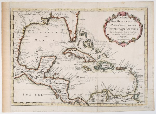 2009: Bellin map of Caribbean & Gulf of Mexico 1754
