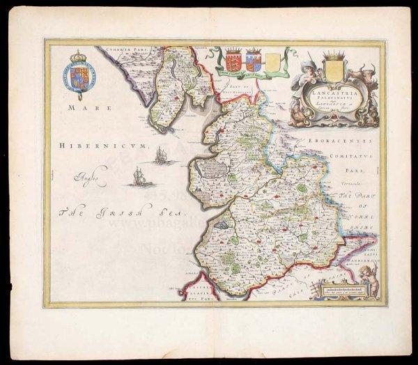 2011: Blaeu map of Lancashire c.1640