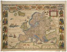 2012 Blaeus map of Europe with side vignettes c1640