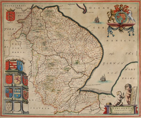 2013: Blaeu map of Lincolnshire, England, c.1648