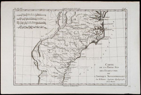 2018: Bonne Map of southern U.S. c.1780