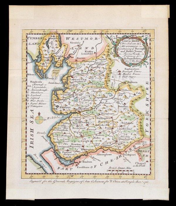 2020: Bowen map of Lancashire, England, 1761