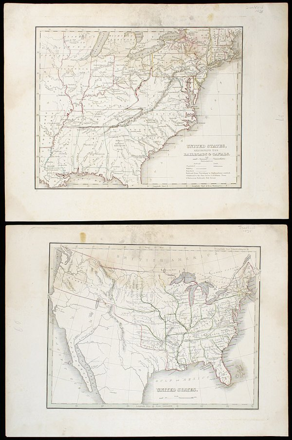 2021: Two maps of the United States by T. Bradford 1835