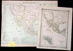 2083 Lot of 5 handcolored maps of Mexico  Southwest