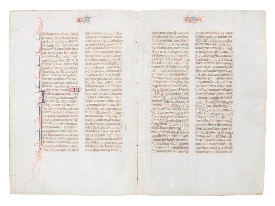 Manuscript Bible leaf from 13th century