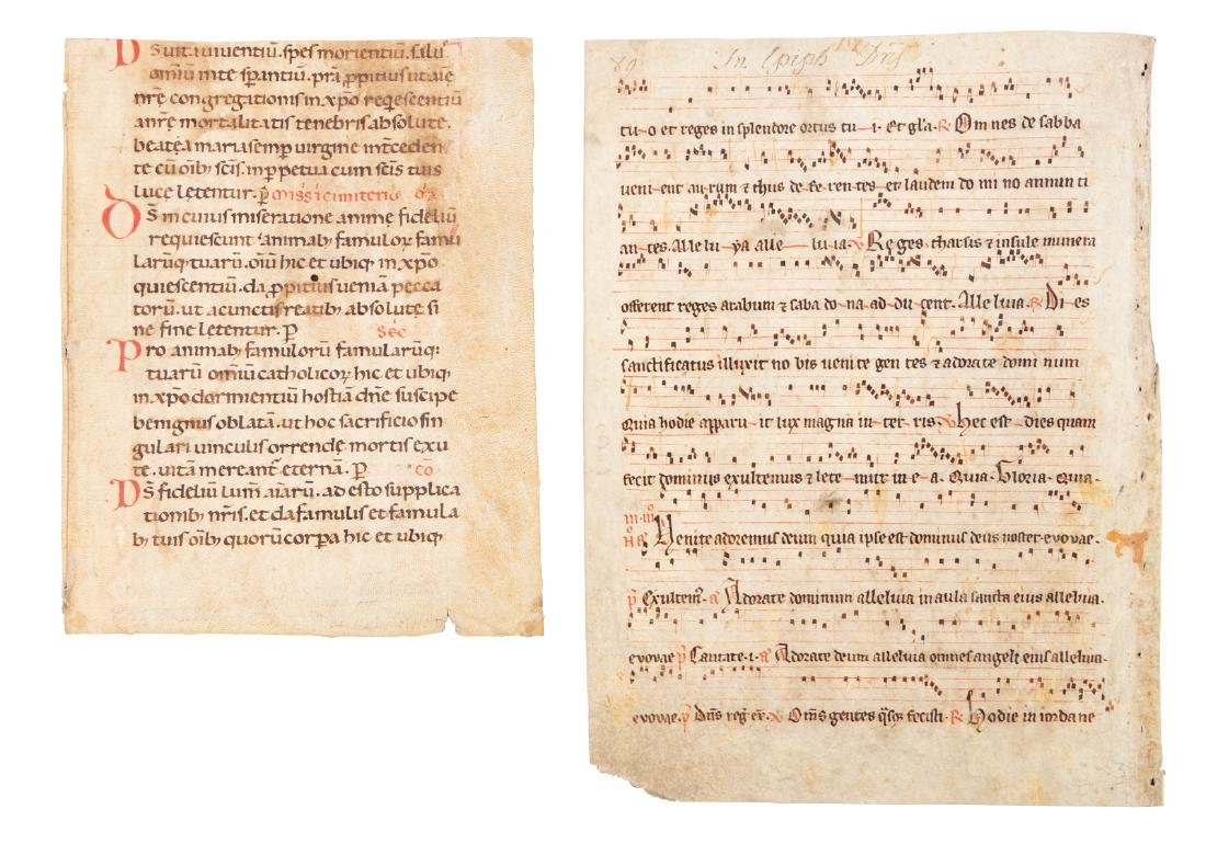 Gregorian chant on vellum + another ms. leaf