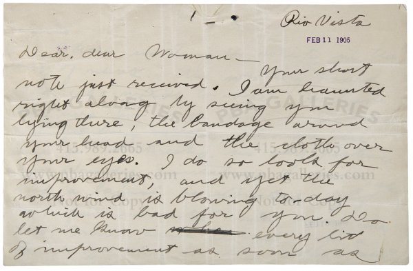 3022: Letter Jack London to Charmian Kittredge