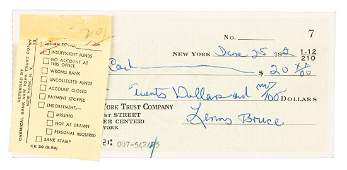 Lenny Bruce check returned for insufficient funds