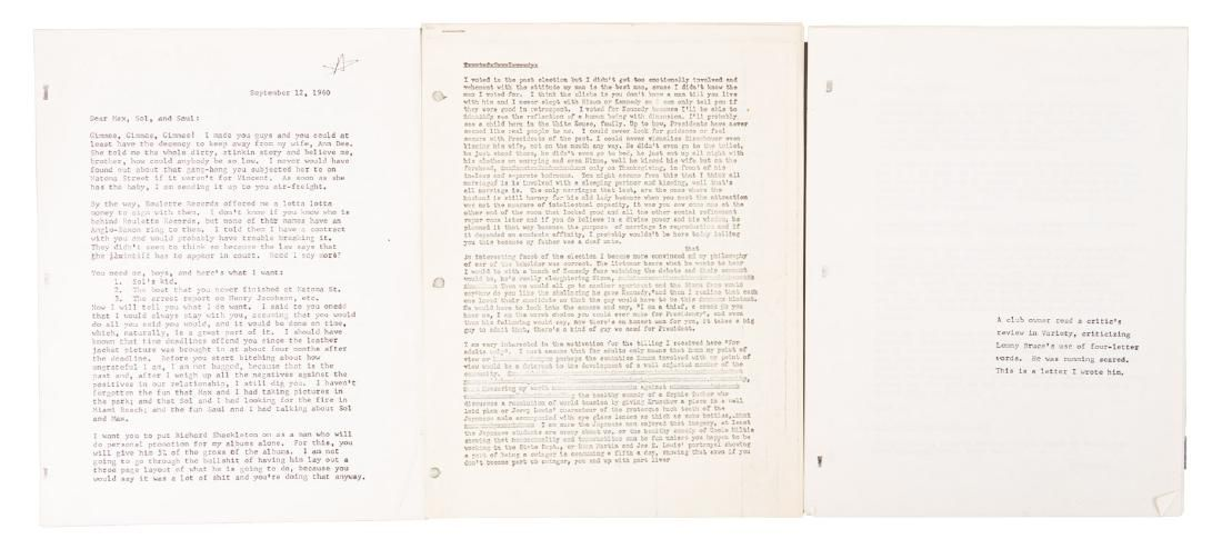 Copies of Lenny Bruce letters with rare content