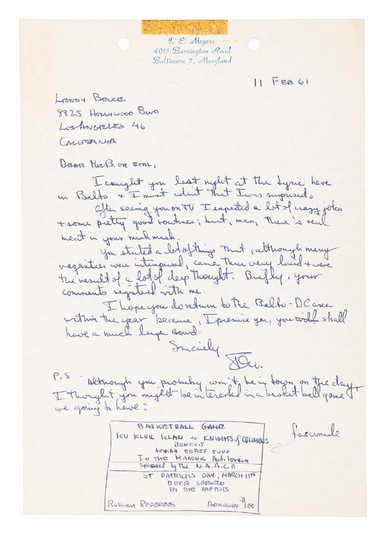 Letter to Lenny Bruce from a fan