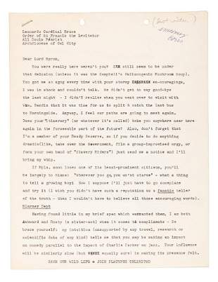 Letter to Lenny Bruce c1961