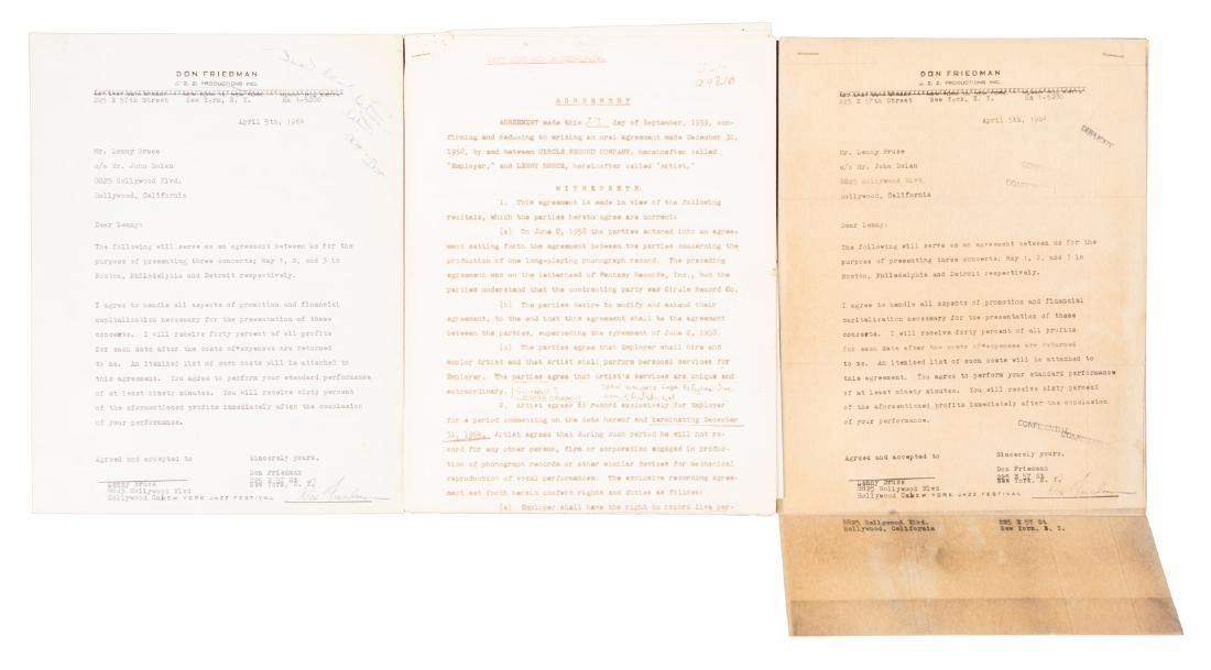 Agreement for Lenny Bruce concerts in 1964