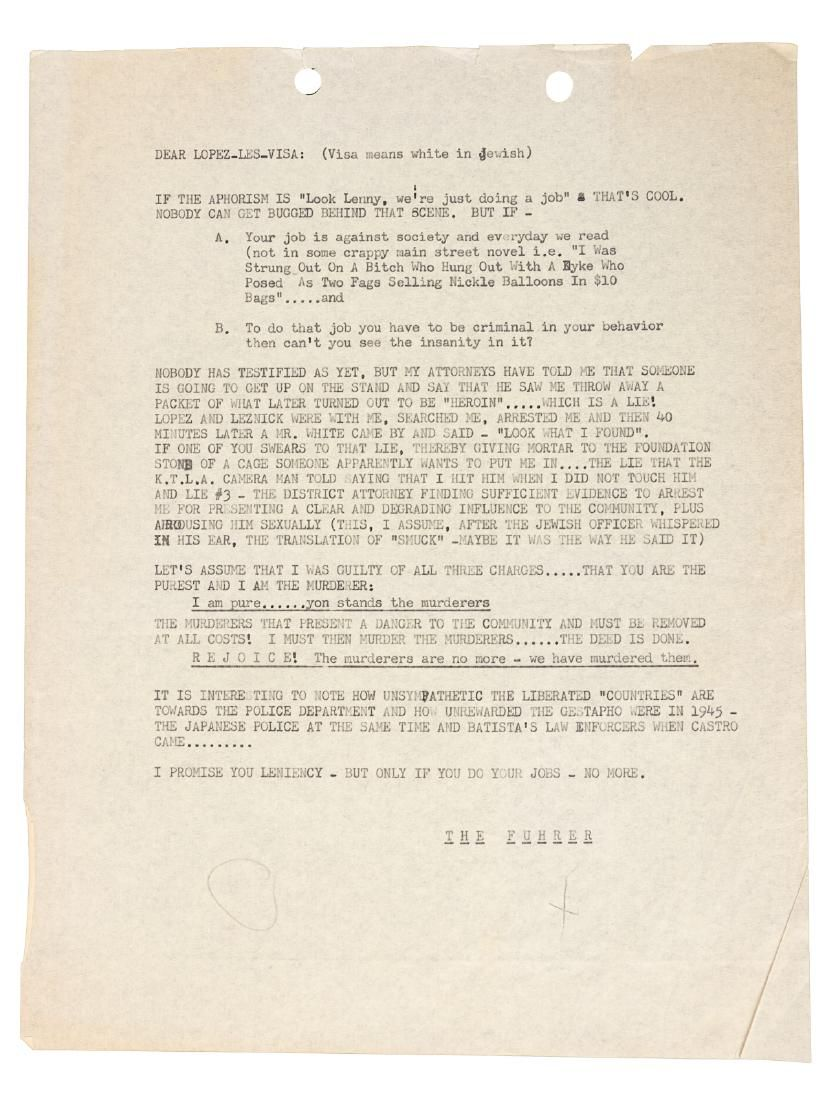 Lenny Bruce writes to heroin-bust cops
