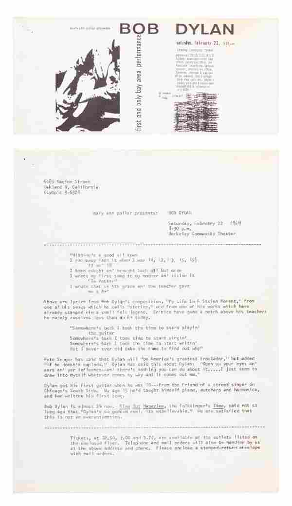 Ticket & press release from Dylan's SF Bay debut