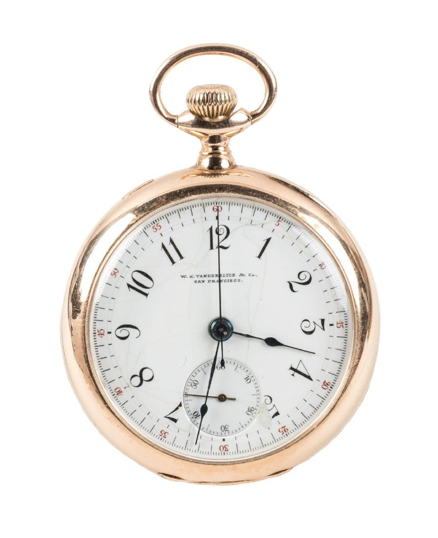 W. K. VANDERSLICE 14K Gold CHRONOGRAPH Pocket Watch,