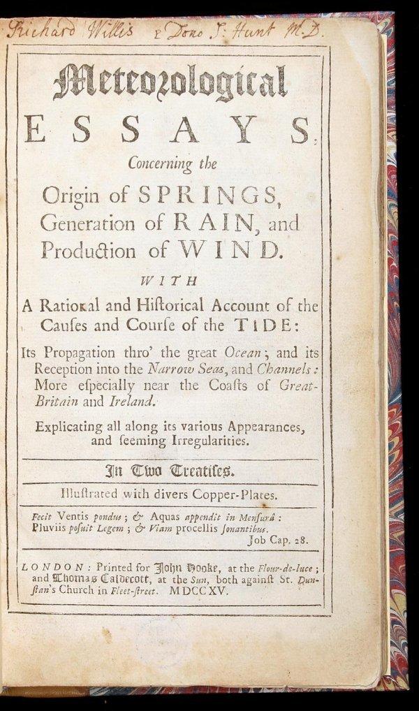 12: Edward Barlow Meteorological Essays 1715