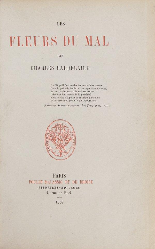 13: Baudelaire Les Fleurs du Mal 1st Edition 1857