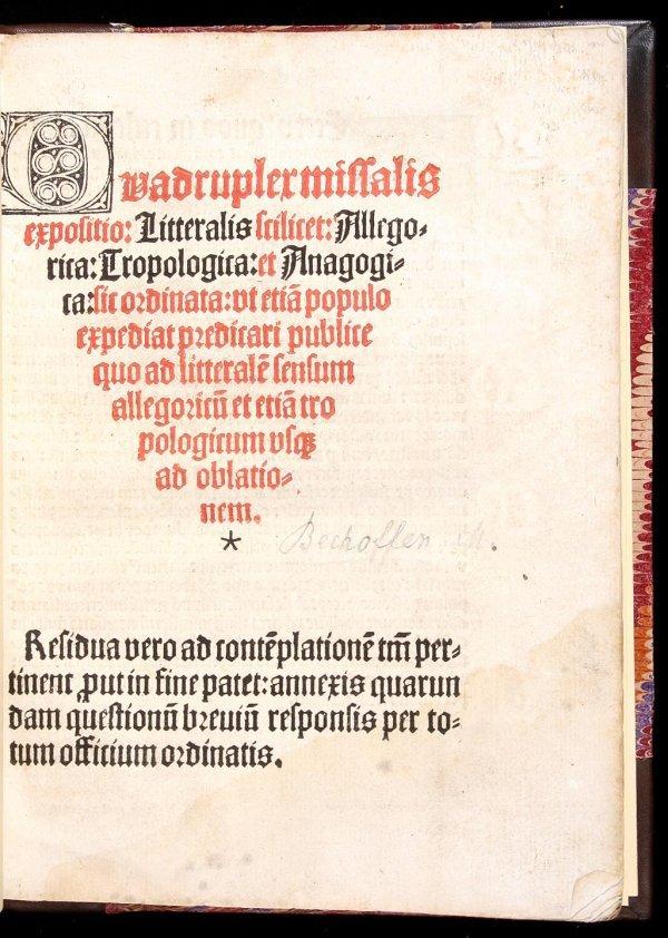 16: Bechoffen Quadruplex Missalis Expositio 1512